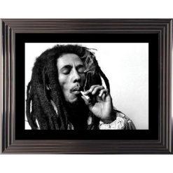Affiche encadrée Noir et Blanc: Bob Marley - 50x70 cm (Cadre Glascow)