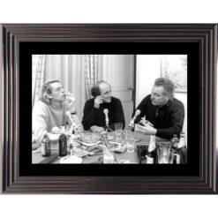 Affiche encadrée Noir et Blanc: Brel Brassens Ferre - Émission Radio - 50x70 cm (Cadre Glascow)