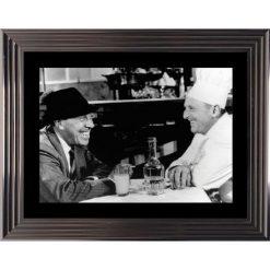 Affiche encadrée Noir et Blanc: La Cuisine au Beurre - Bourvil Funès - 50x70 cm (Cadre Glascow)