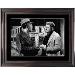 Affiche encadrée Noir et Blanc: La Traversée de Paris - Bourvil Gabin - 50x70 cm (Cadre Glascow)