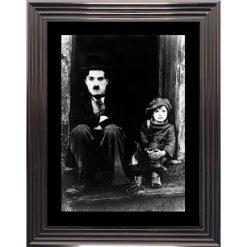 Affiche encadrée Noir et Blanc: Le Kid - Charlie Chaplin - 50x70 cm (Cadre Glascow)