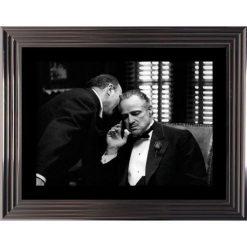 Affiche encadrée Noir et Blanc: Le Parrain - Marlo Brando - 50x70 cm (Cadre Glascow)