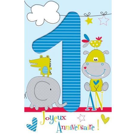 Carte âge 1 an Joyeux anniversaire - Aujourd'hui tu souffles... - 11.5x18 cm