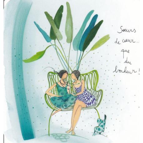 Carte Anne-Sophie Rutsaert - Soeurs de coeur... que du bonheur! - 14x14 cm