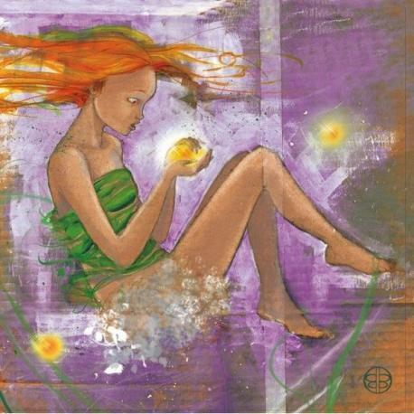 Carte Marianne Berger - Fille et boules de lumière - 14x14 cm
