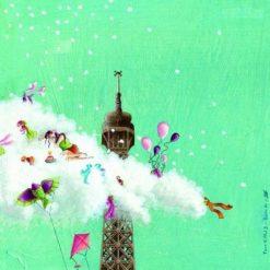 """Carte Marie-Anne Foucart """"La Tour Eiffel (haut)"""" 14x14 cm"""