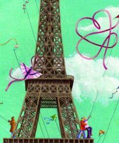 """Carte Marie-Anne Foucart """"La Tour Eiffel (milieu)"""" 14x14 cm"""