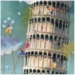 """Carte Marie-Anne Foucart """"La Tour de Pise (milieu)"""" 14x14 cm"""