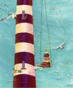 """Carte Marie-Anne Foucart """"Le phare aux mouettes (milieu)"""" 14x14 cm"""