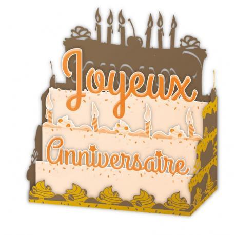 Carte Relief Pop Up Joyeux Anniversaire Le Gâteau Et Bougies Pl22 11x5x115 Cm