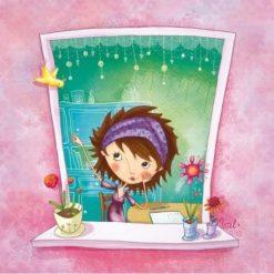 Carte Valérie Willame - A la fenêtre - 14x14 cm
