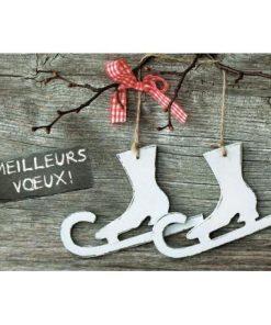 """Carte de Voeux """"Patins à neige"""" - 12x17 cm"""