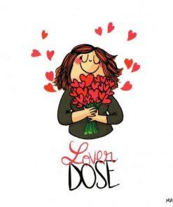 Carte humour de Mathou - Lover dose - 14x14 cm