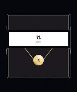 """Collier pendentif """"Lettre N"""" Collection Black & Gold """" 40 cm env. réglable"""