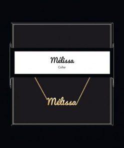 """Collier pendentif prénom """"Mélissa"""" Collection Black & Gold """" 40 cm env. réglable"""