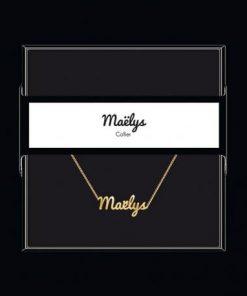 """Collier pendentif prénom """"Maelys"""" Collection Black & Gold """" 40 cm env. réglable"""