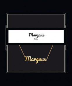 """Collier pendentif prénom """"Margaux"""" Collection Black & Gold """" 40 cm env. réglable"""