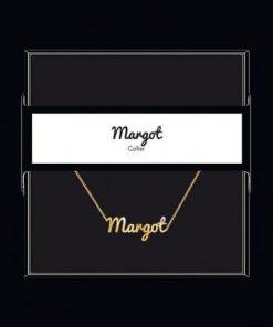 "Collier pendentif prénom ""Margot"" Collection Black & Gold "" 40 cm env. réglable"