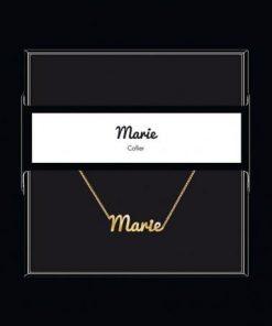 """Collier pendentif prénom """"Marie"""" Collection Black & Gold """" 40 cm env. réglable"""