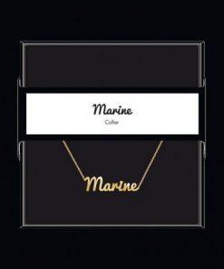 """Collier pendentif prénom """"Marine"""" Collection Black & Gold """" 40 cm env. réglable"""