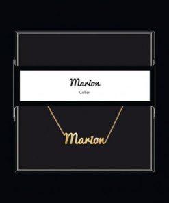 """Collier pendentif prénom """"Marion"""" Collection Black & Gold """" 40 cm env. réglable"""