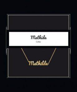"""Collier pendentif prénom """"Mathilde"""" Collection Black & Gold """" 40 cm env. réglable"""