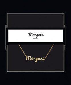 "Collier pendentif prénom ""Morgane"" Collection Black & Gold "" 40 cm env. réglable"