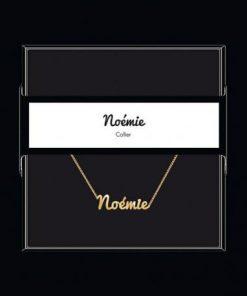 """Collier pendentif prénom """"Noémie"""" Collection Black & Gold """" 40 cm env. réglable"""