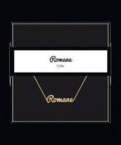 """Collier pendentif prénom """"Romane"""" Collection Black & Gold """" 40 cm env. réglable"""