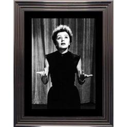 Edith Piaf - Affiche encadrée Noir et Blanc: 50x70 cm (Cadre Glascow)