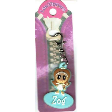Porte-clés Zipper prénom ZOE  - 6.5x3 cm env