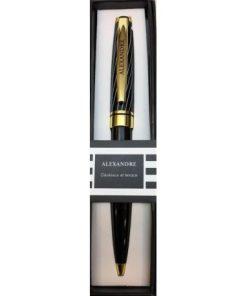 Stylo prénom Black & Gold - Alexandre - Offrez un cadeau personnalisé !
