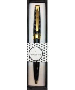 Stylo prénom Black & Gold - Lettre T - Offrez un cadeau personnalisé !
