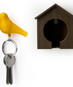 Cet accroche-clés cabane à oiseau de couleur marron vous permettra d'accrocher votre trousseau à un petit oiseau afin de ne jamais le perdre de vue...