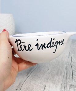 Ce bol breton en céramique banche sera parfait pour un papa rempli d'humour ! Voilà un bol qui ne manque pas d'air ni d'originalité !