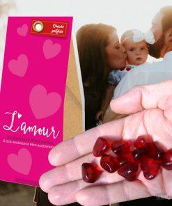 Offrez ces 70 grammes de bonbons à la framboise aux gens que vous aimez. C'est marqué dessus