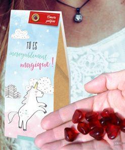Vous êtes merveilleux et vous méritez ce paquet de petits bonbons au goût de framboise. En plus