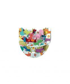 Une carte pop-up 3D chiens colorés de races différentes les uns à côté des autres avec des expressions souriantes et rigolotes...