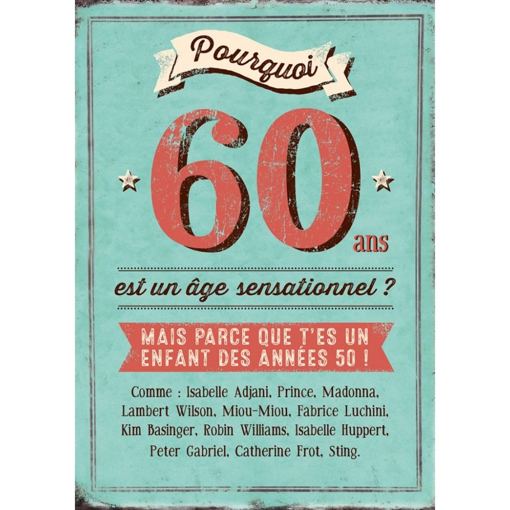 Carte Double Pourquoi 60 Ans Est Un âge Sensationnel Idée Cadeau