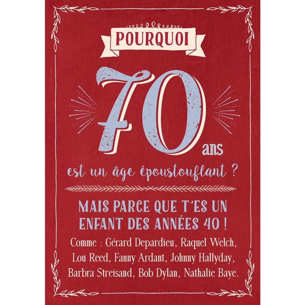 Carte Anniversaire 70 Ans Idée Cadeau