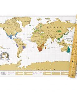 La carte du monde à gratter est une mappemonde de plus de 80 cm de long