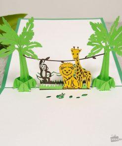 Cette carte pop-up Animaux de la jungle saura surprendre le destinataire qui ouvrira la carte ! Voilà de quoi le combler de bonheur avec une carte insolite !