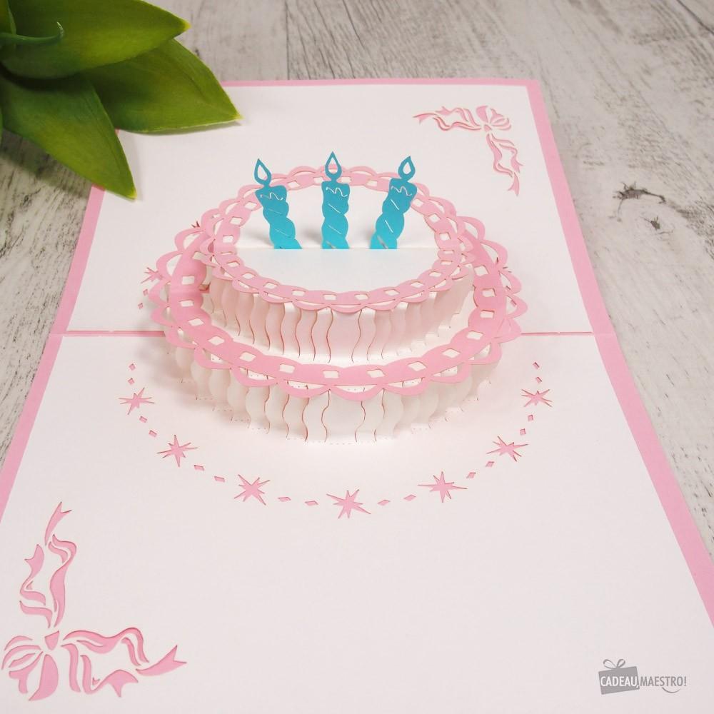 Carte Gâteau Joyeux Anniversaire Rose 3d