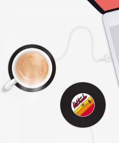Un chauffe-tasse USB en forme de vinyle pour réchauffer vos boissons type café