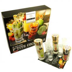 Un coffret cadeau offrant un kit complet contre la soif et pour la bonne humeur avec des mélanges pour cocktails