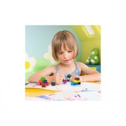 Crayons en forme de briques encastrablesPlusieurs couleurs pour créer et s'amuserRangement facile et ludique