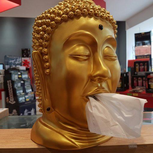 Tête de Bouddha en résine doréeDistributeur original de mouchoirs en papierAspect zen et décoratifAccessoire pratique et insolite
