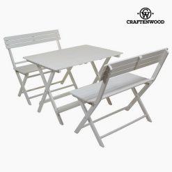 Ensemble Table + 2 Chaises Bois de peuplier (100 x 70 x 70 cm) by Craftenwood