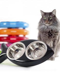 Votre chat aura toujours un poisson dans sa gamelle !Grand socle avec double gamelleGamelles en acier inoxydable amoviblesPassent au lave-vaisselle