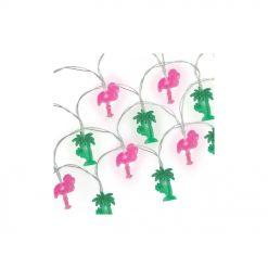 Petits flamant rose et palmiers se mêlent pour créer un univers tropical au sein de votre maison.